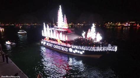newport beach boat parade christmas aerial footage of newport beach boat parade at christmas
