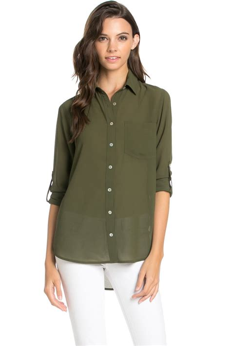 Olive Blouse Wd 1 roll up sleeve button olive chiffon blouse my yuccie