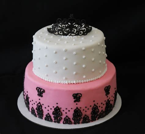 black and pink birthday cake birthday cake pink black and white cakecentral com