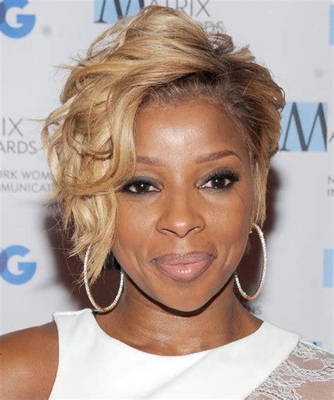 mary j blige hairstyles pictures mary j blige short wavy formal hairstyle medium blonde