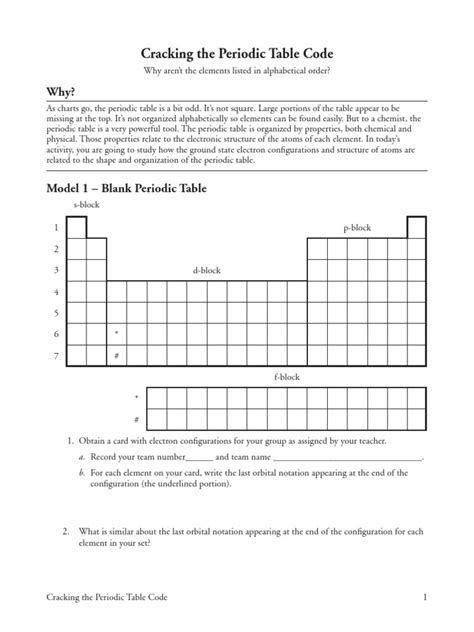 cracking the periodic table code answers key periodic table of elements pdf alphabetical order