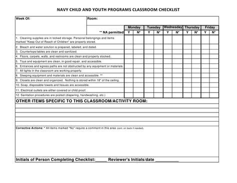 daycare cleaning checklist templates 2012 04 16 optional classroom checklist