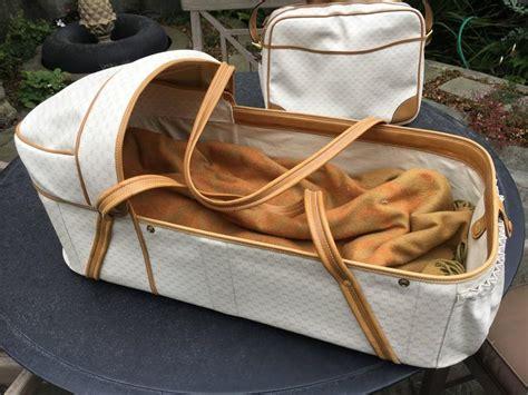 Vintage Bag Mebg 0209 gucci vintage 1970 s leather trimmed logo baby travel layette and bag at 1stdibs