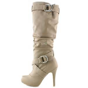 color boots althea 23 taupe color knee high heel boots