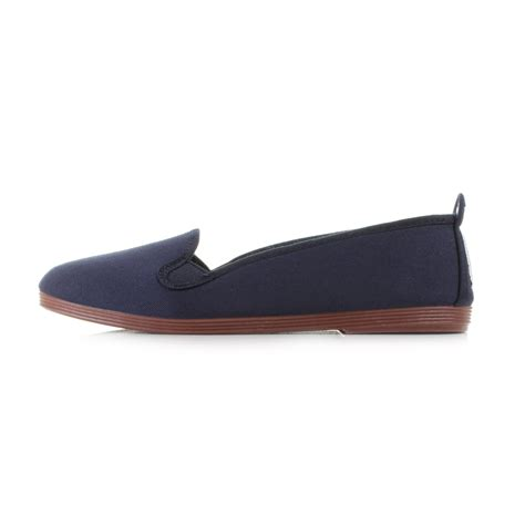 navy flat shoes womens womens flossy mijas navy canvas casual plimsolls flat