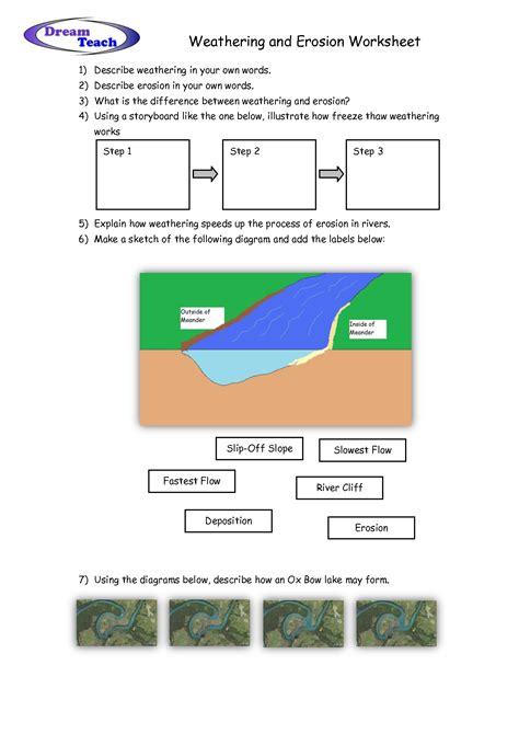 Erosion Worksheet by Weathering And Erosion Worksheet School