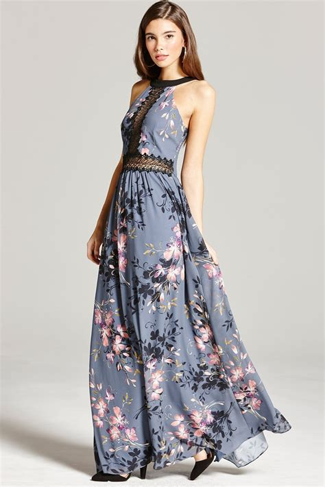 Floral Print Lace Dress floral print and lace maxi dress from uk