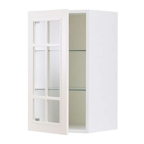 Glass Door Kitchen Wall Cabinets Faktum Wall Cabinet With Glass Door St 229 T White 40x92 Cm Ikea