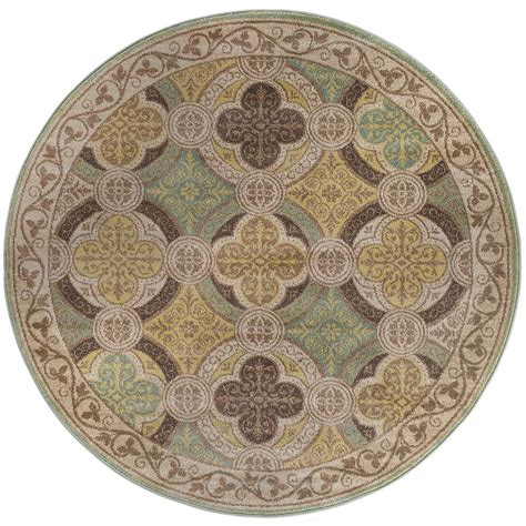 Tayse Rugs Capri Beige 5 Ft 3 In Transitional Round Area 5 Foot Area Rugs