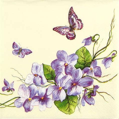 Purple Decoupage Paper - 4x vintage purple butterfly paper napkins for decoupage