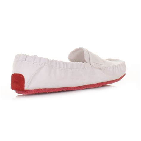 womens mocks saddle white canvas slip on loafers