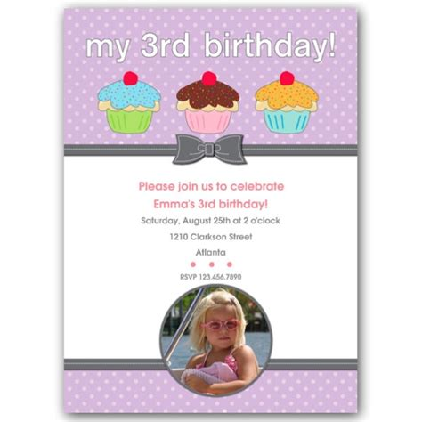 invitation wording for 3rd birthday three cupcakes third birthday invitations paperstyle