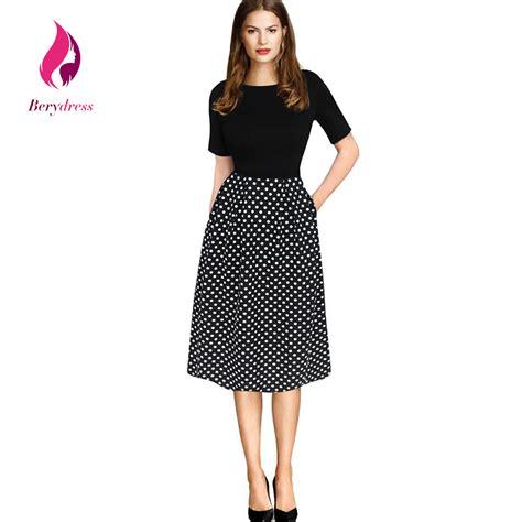 Dress Modist Vest modest womens dress vintage a line dot with pockets vestidos work formal black