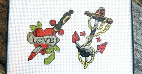 tattoo gun cross stitch retro heart and anchor pair of rockabilly tattoos modern