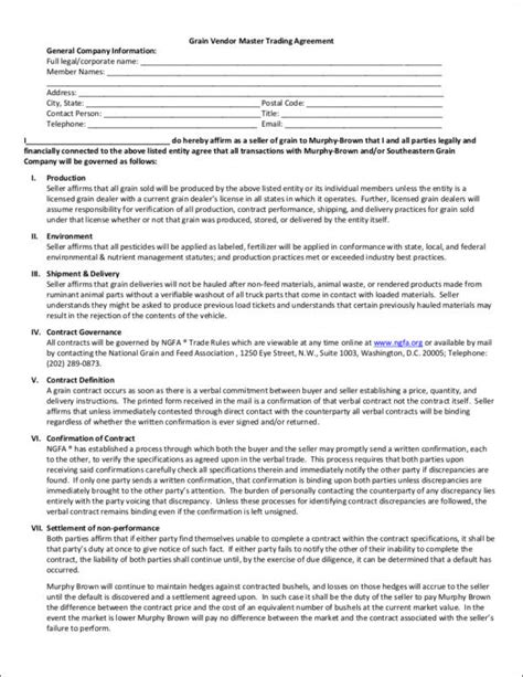 10 Vendor Contract Sles Templates Sle Templates Vendor Agreement Template