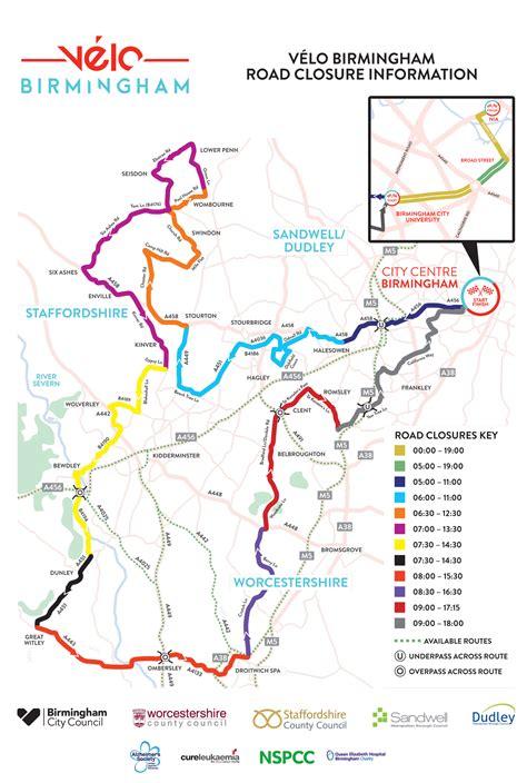 road closures map road closures velo birmingham
