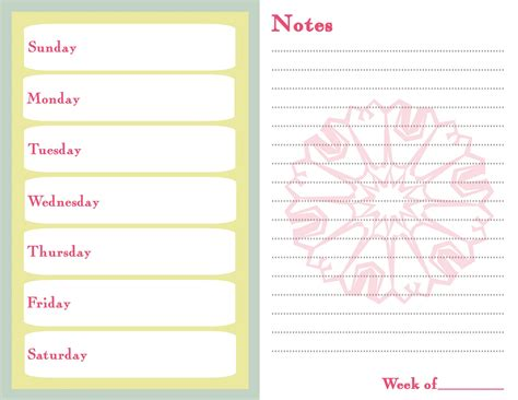 7 day menu planner template