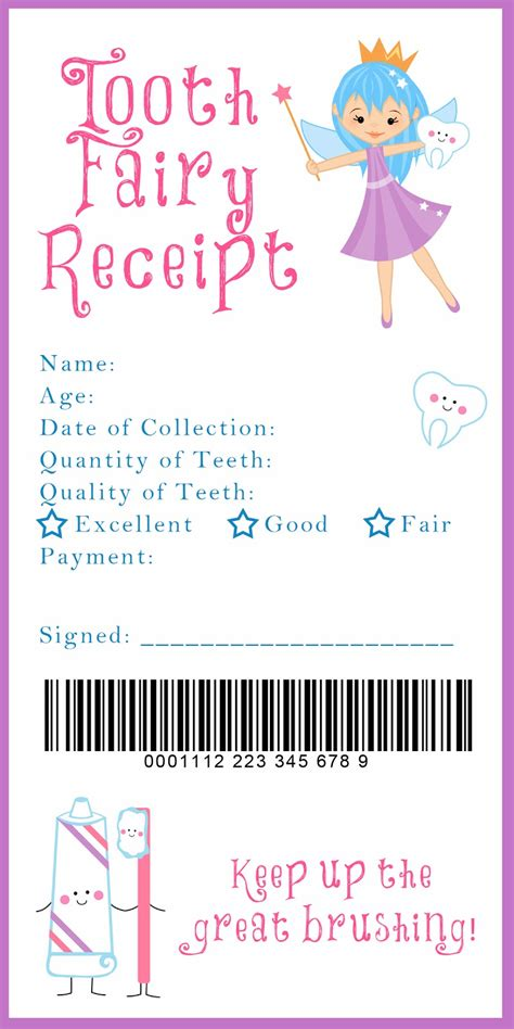 printable dental receipts tooth fairy receipt and many other awesome printables xixi