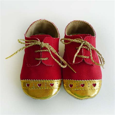 gold crib shoes canvas and brogued gold leather crib shoes sewing