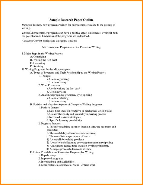 Exles Of Essay Outline by 8 Research Paper Outline Exle Resumed