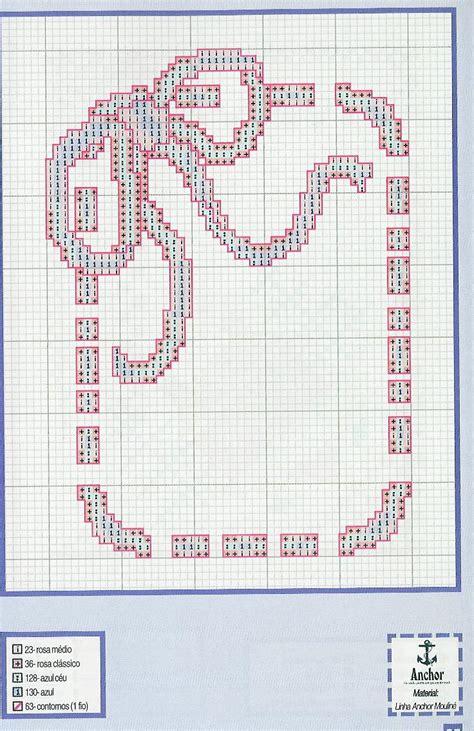 cornice a punto croce bordo o cornice punto croce con fiocco e nastro rosa