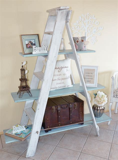 rustic ladder shelf white duck egg blue www