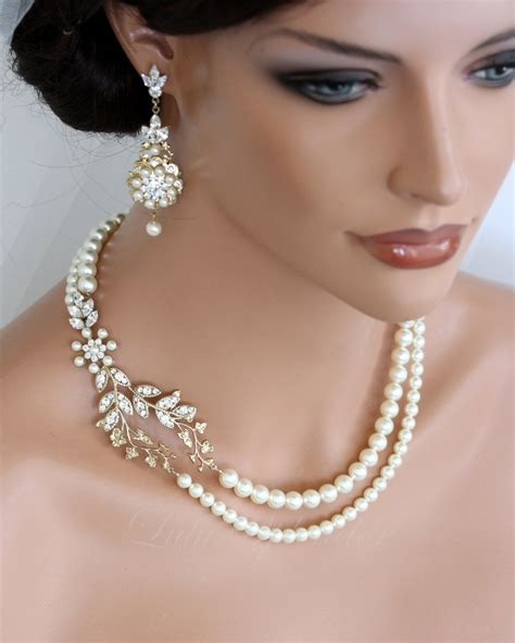 Perlenschmuck Braut by Wedding Pearl Necklace Vine Leaf Gold Bridal Necklace