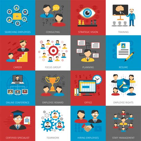 human resources management flat icons collection vector