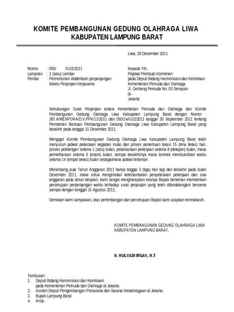 contoh surat permohonan addendum