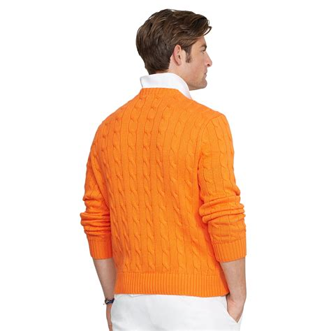 orange cable knit sweater polo ralph cable knit cotton sweater in orange for