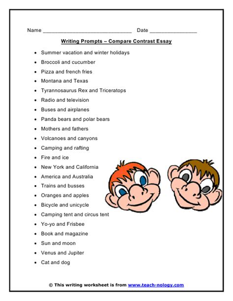 Topics For Compare And Contrast Essays Elementary by Compare Contrast Essay Writing Prompts