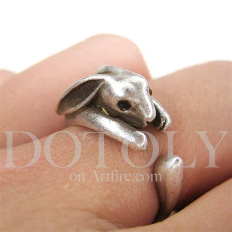 Bunny Ring miniature bunny rabbit ring in silver sizes 4 to 9