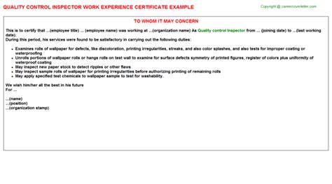 Experience Letter Format For Quality Quality Inspector Work Experience Certificate