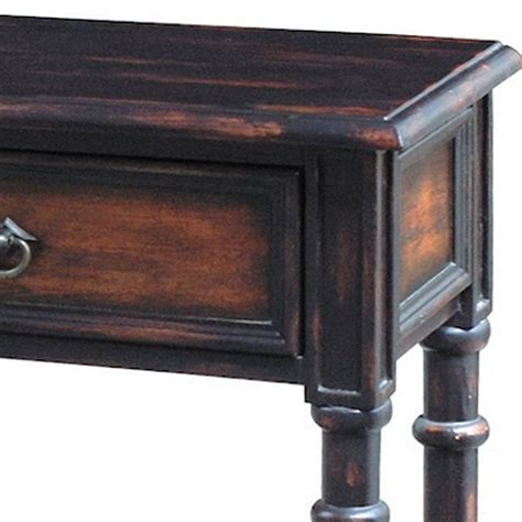 hand painted distressed black brown finish accent console