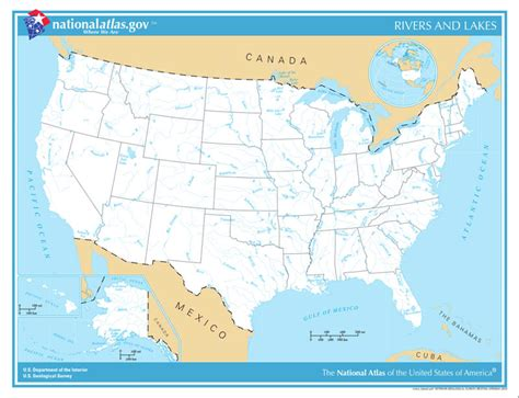 map of the united states rivers lakes and mountains map of united states with rivers and lakes labeled