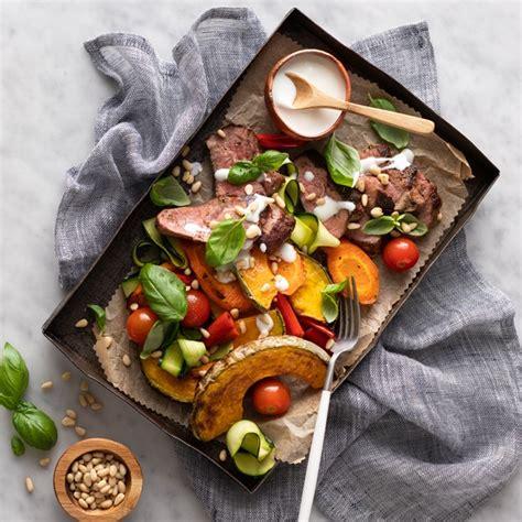 lamb rump steak  mediterranean veggies  feta