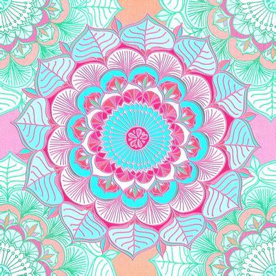 wallpaper doodle pink tropical bloom floral doodle in pink mint peach aqua