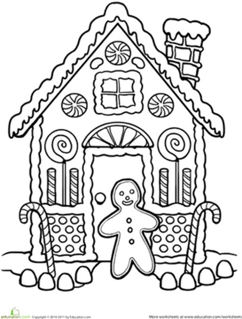 coloring page gingerbread house gingerbread house coloring worksheet education com