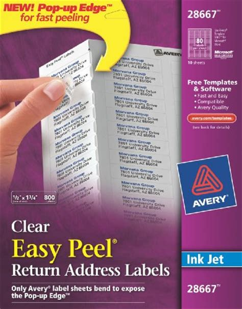 Avery 18667 Easy Peel Clear Return Address Labels For Inkjet Printers 1 2 Inch X 1 3 4 Inches Avery Return Address Labels Clear Template