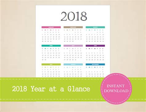 printable 2016 2017 2017 year at a view glance calendar templates