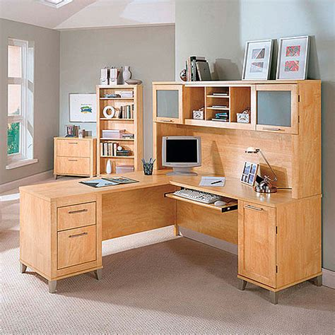Bush Somerset 71 Quot L Shaped Desk With Hutch Maple Cross Maple Desk With Hutch