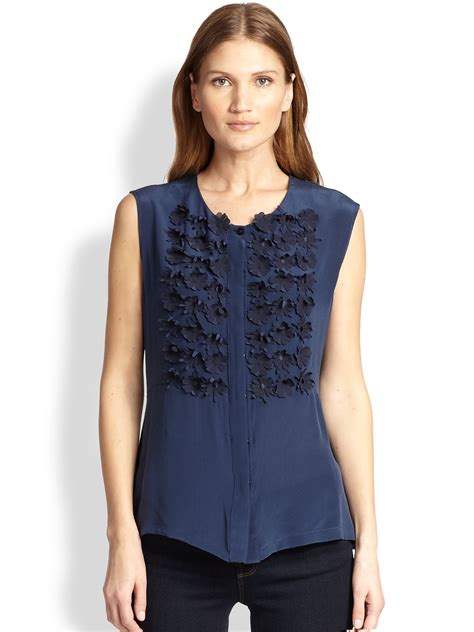 Max Gold Button Blouse T3010 1 weekend by maxmara silk jersey ermanna embellished blouse in blue lyst