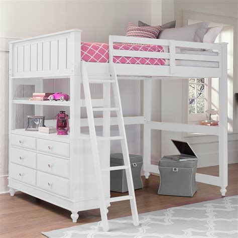 white loft beds full size loft bed with desk