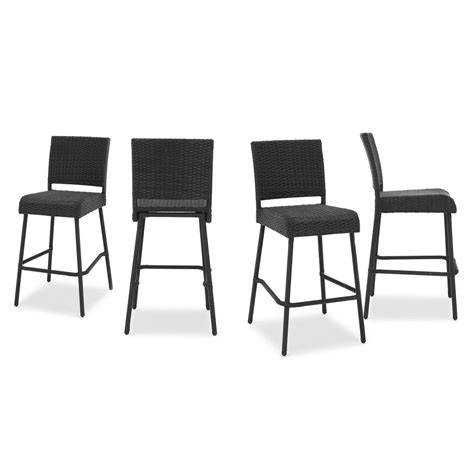 Bar Stools 4 Pack by Noble House Neal Wicker Outdoor Bar Stool 4 Pack 299570