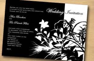 wedding invitations black and white flower design black and white wedding invitation trendy