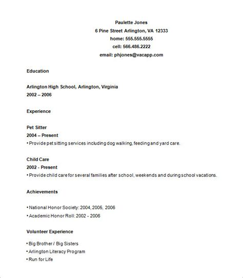 simple high school resume 10 high school resume templates free sles exles
