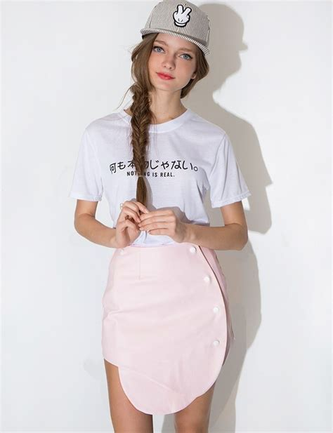 Topi Fashion Kpop Letter Simple shirt nothing is real korean fashion korean trends