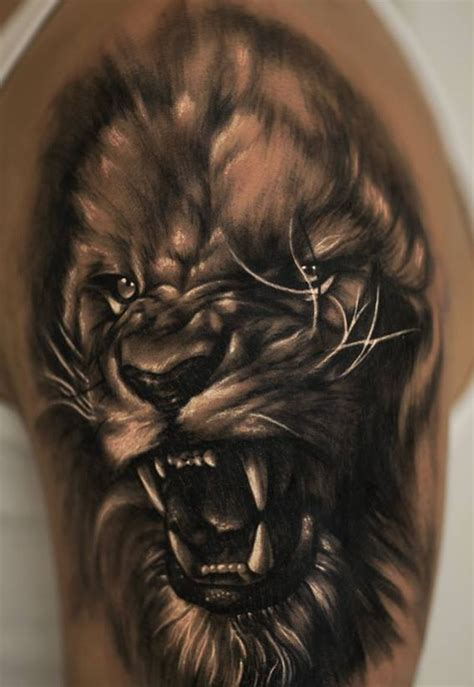 realistic lion tattoo designs 40 dangerous animal pictures golfian