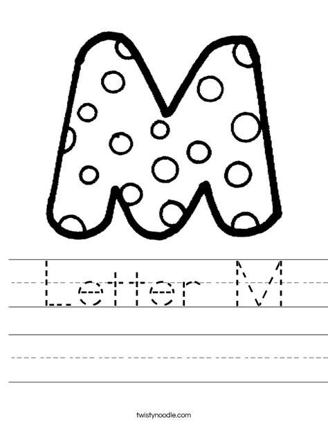 Letter M Worksheets by Letter M Worksheet Twisty Noodle