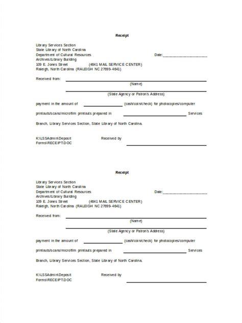 deposit receipt template 22 deposit forms in doc